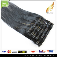 Wholesale Discount Fashionable Remy Human Hair Extensions Natural Virgin Eurasian Clip in on Hair Extensions Color Straight inch g set