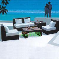 Plastic bamboo sofa table - Outdoor furniture custom garden sea lake imitation rattan armchair rattan coffee table bamboo rattan leisure L shaped sofa