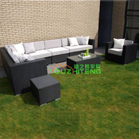 Wholesale Outdoor Furniture Villa imitation PE rattan sofa table combination packages Terrace Club Cafe