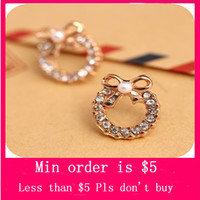 Wholesale Min Order Mix Jewelry order Korea Stylish Hollow Circle Bowknot Pearl Crystal Lady Earrings E0211