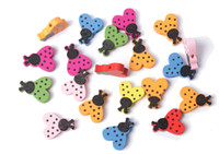 Wholesale 50PCS Mixed Colours Wooden Ladybug Beads