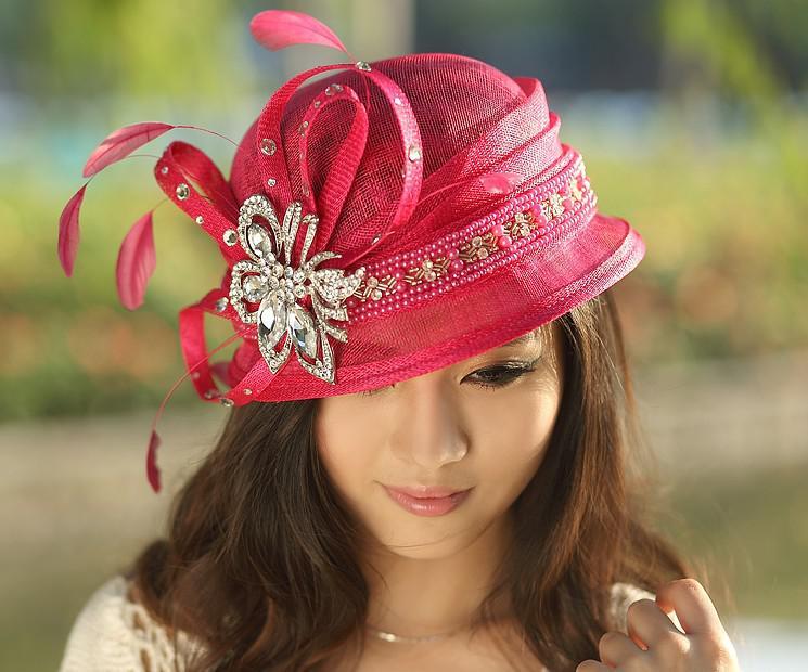 New Ladies Pink Organza Fancy Fashion Dress Derby Hats For Church Women