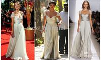 Wholesale Jessica Szohr The Gossip Girl Ivory Reem Acra Spring Cap Sleeve Gown Beaded Celebrity Dresses