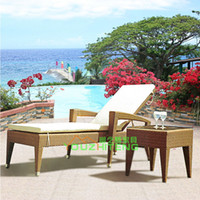 Wholesale Folding furniture rattan wicker chair outdoor pool chaise lounge outdoor fashion lunch Garden Club Hotel