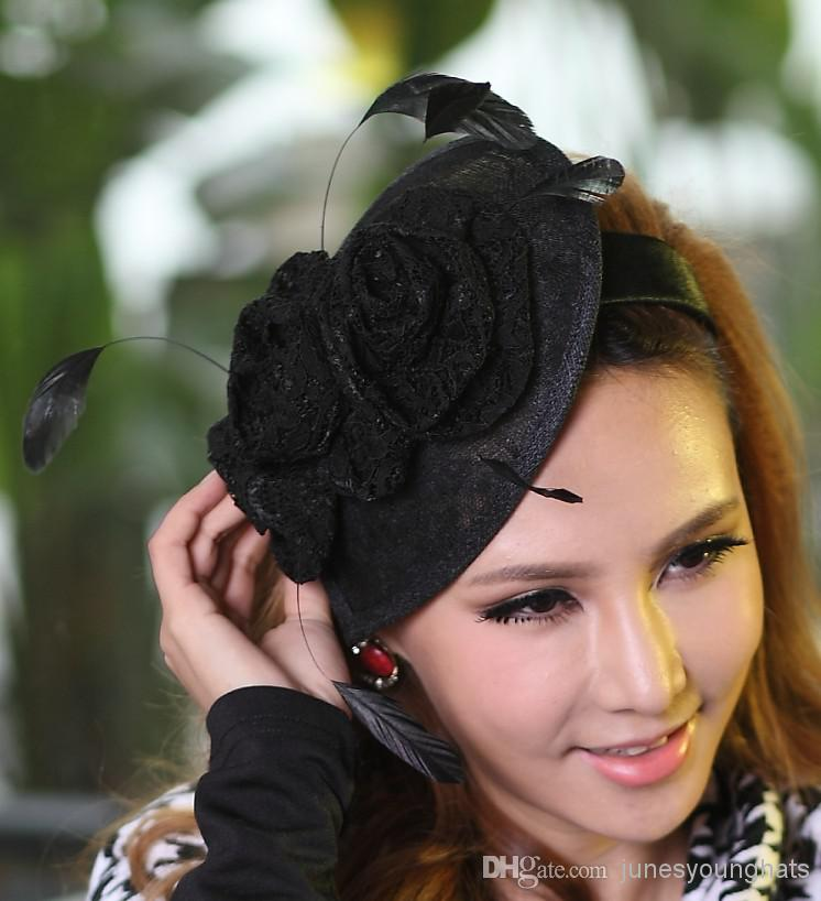 Online Cheap Women Fashion Dress Fascinator Hat Sinamay Lace ...