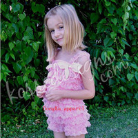 Wholesale Cute petti baby girl lace romper with straps and ribbon bow solid color Jumpsuit Infant children clothes