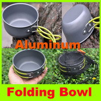 Wholesale 2014 newest Folding aluminum bowl With Handle outdoor camping hiking tableware picnic cookware portable rice bowl field small soup pot H