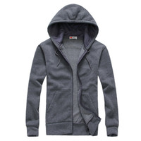 Wholesale spring and autumn brief fashion long sleeve with a hood cardigan lovers sweatshirt Dark gray