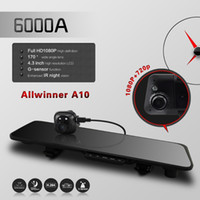 Cheap 6000A Car DVR GPS Rear view Mirror Camera dual Lens video Recorder DVR 4.3'TFT vehicle driving dashcam blackbox registrator cam