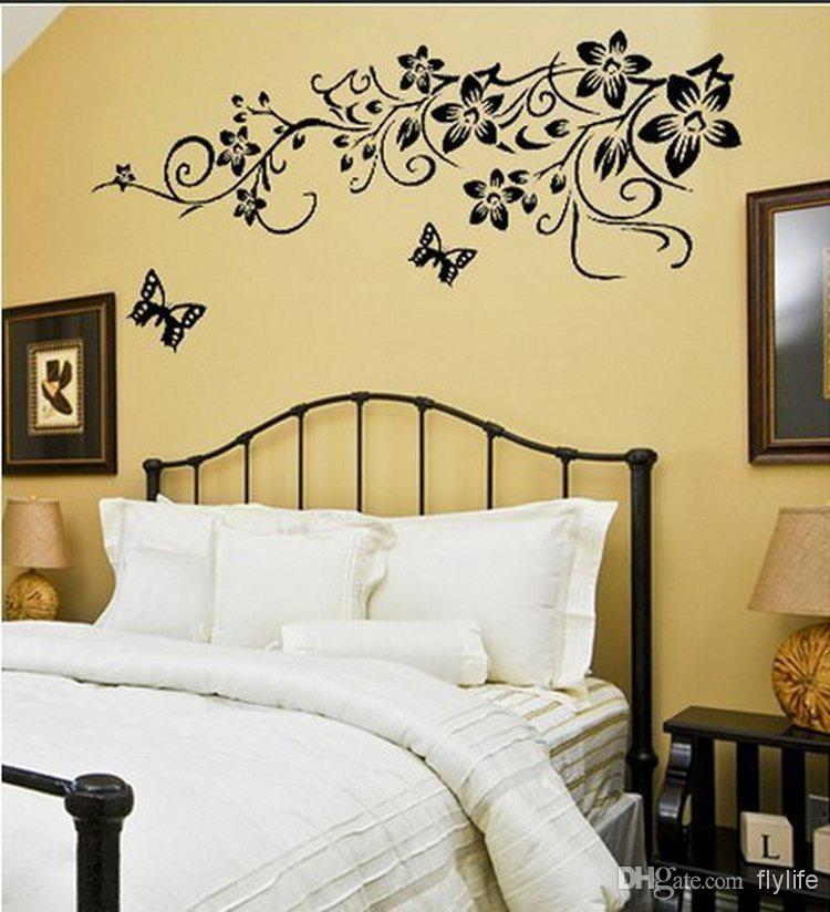 black butterflies wall stickers vine tiny flowers art