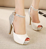 Wholesale Popular Colors Chunky Heels High Heels Paillette Fashion Peep toe Dress Shoe Lady s Sandals Slipper