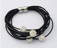Wholesale Fashion Bracelet Multi Strand Leather Magnetic Bracelet Shamballa Crystal Beads Multilayer Leather Strands With Magnetic Buckle