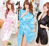 Wholesale Euro Size Sexy Lingerie Satin Sleepwear Silk Detail Robe and G String Sexy Sleepwear Nightdress ZCJ118