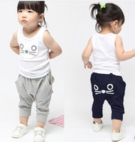 cat - 2014 Summer Korean Style Cat Pattern Tank Tops Haren Pants Children Girls Outfits Navy Blue Grey Kids Clothing Summer Set B3447