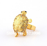 Solitaire Ring Men's Anniversary Wholesale 18K Gold Plated Chinese Turtle A Symbol Of Longevity Ring For Men Jewelry Sets With Crystals Free Shipping J00816