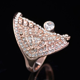 1Pcs High Quality Alloy Rhinestone Studded Butterfly Single Wings Rose Gold Plated Rings For Women FREE SHIPPING J00677