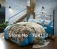 Knitted Adult 30 best selling high quality 4pcs BRAND logo printed Cotton and linen bedding sets quilt cover duvet cover set Queen side JD202