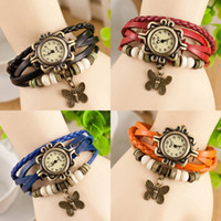Wholesale Multicolor optional Explosion Hot products retro woven leather bracelet watch girl women Lady bachelor Casual watch butterfly table