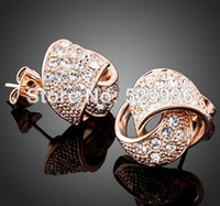 Wholesale New Fashion Rose Gold Plated Knot Design With Austria Crystals Stud Earrings For Women Jewelry Sets E00258