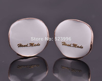 Wholesale Shopping Festival Fashion sweet all match oil dripping Flower Clip Earrings Black White Rose Gold Plated E00690