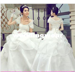 Wholesale new wedding dress together to show thin princess wiping a bosom wedding fashion lace sweet flower