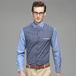 Wholesale 2014 New Fashion Men Shirt Long Sleeve Plaid Turn Down Collar Temperament Men Shirt MCL265