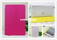Wholesale Leather Smart cover for ipad mini with transparent plastic back cover Magnetic Leather Case for ipad mini with wake up amp sleep