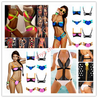 Women Bikinis Patchwork 2014 Bandage Vintage Knitted 3 Colors Mixed Hot Sexy Neon Bikini Set,Women Slim Halter Beach Swim Swimwear,Sexy Beachwear Swimsuit