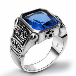 925 sterling silver Men's ring seiko Thai silver blue diamond ring