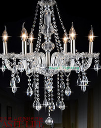 Free shipping romantic modern luxury clear crystal chandelier led lamps 6 lights kid chandeliers Candelabra bedroom child room hanging light