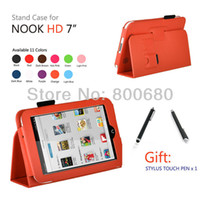 7'' For Apple For Ipad 2/3 For Nook HD case cover +1 stylus touch pen 1set lot 11 colors free shipping