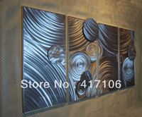 "Metal Yes China 64"" Modern Metal Abstract Wall Art Metal Sculpture Original Handicraft 4 panels Wall Painting Metal Crafts Home Wall Gift"