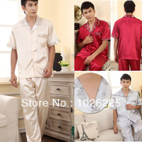 Regular Men Robe Casual Mens Faux Silk Sleepwear Boys Cool Tops Shirts Trousers Pants Pajama Sets Free shipping