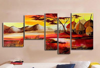 african hotels - Home Office Oil Painting on canva African Landscape Abstract decoration High Quality handmade Hotel wall art decor Artwork