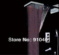 Wholesale And Retail Promotion LED Colors Thermostatic Waterfall Rain quot Shower Faucet Shower Mixer Tap Chrome