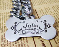 stainless steel collar - DIY pet ID Tags stainless steel pet collar laser engraving the shape of bones