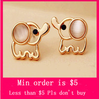 Stud baby earrings gold - Min Order Mix Jewelry order Cute Baby Elephant Animal Cat Eye Bead Stud Earring Jewelry Gold Plated E0461