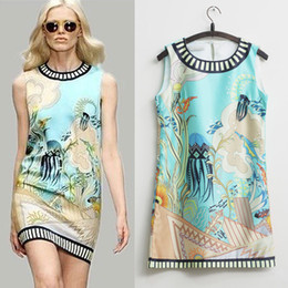 Wholesale 2014 New Brand Fashion Runway Dress Scoop Collar Sleeveless Undersea world Digital Printed Straight Dress for Women Casual Tank Dress