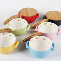 Disposable More than 45% of bone meal bone 800g Binaural wooden lid ceramic bowl of instant noodles soup bowl with lid large capacity mug cup colorful surface color pattern binaural