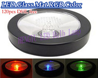 Wholesale x120pcs Brand New LED cup mat Special colorful bar coasters LED coasters light emitting products LED Bulb White Black shell