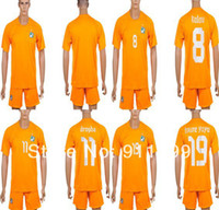 Wholesale Drop ship Ivory Coast World Cup Ivory Coast Home soccer jersey orange Drogba Kalou Toure Yaya customize name number