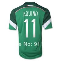 2014 Brasil Copa del Mundo de México, Jersey de Fútbol de tailandia de la versión #11 AQUINO verde jersey de fútbol bordado personalizar el nombre de número