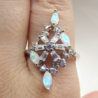 With Side Stones Mexican Women's Hot Sale ! White Opal Wedding Rings Opal With cz Jewelry Ring Size #7,8 Free Shipping