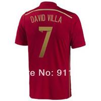Calidad Tailandia # 7 DAVID VILLA rojo España 2014 Copa Mundial de Fútbol jerseys casa personalizada España camiseta de fútbol 2014 Envío gratuito