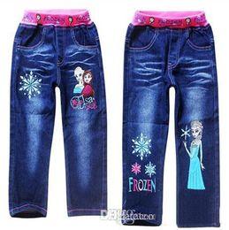 Wholesale New arrival Spring Summer Children Girls Trousers Frozen Elsa Anna Cartoon Kids Girl Printing Blue Denim Long Pants