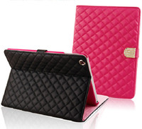 al por mayor el caso de lujo de ipad2-Lujo Rhombus de cuero de la PU del tirón acolchó el soporte elegante de la cubierta del caso para el iPad Air / iPad2 3 4 / iPad mini de Apple iPad
