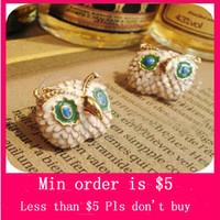 Wholesale Min Order Mix Jewelry order Retro Vintage Lovely Mini Owl with Big Eyes Diamond Cute Earrings E0128