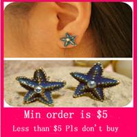 Wholesale Min Order Mix Jewelry order Retro Vintage Blue Starfish Embedded Diamond Ocean Charming Earrings E0133