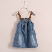 TuTu Summer Straight Free Shipping by DHL Summer Solid Double Pocket Strap denim Knee Length skirt Girls Denim Dresses 6 Size lot 2 Colors