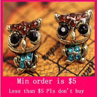 Wholesale Min Order Mix Jewelry order Womens Girls Western Ancient Owl Lovely Earrings E0215